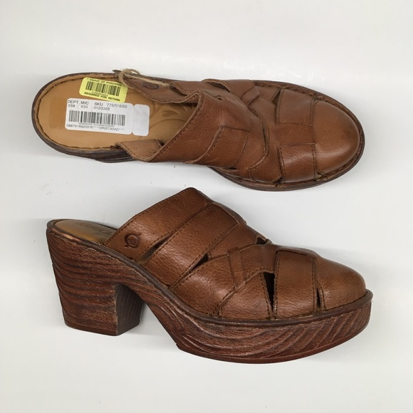 Women's Shoes Born Womens Brown Leather Mule Nurse Shoe Size 8 Pretty And Colorful